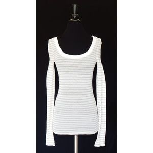 Free People White Striped Pointelle Knit Top M